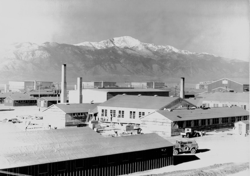 Building 365 under construction in early 1943.  This building still stands today, as do the hangars in the background. (U.S. Air Force photo)