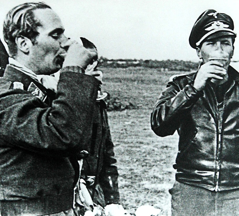 Many Luftwaffe fighter pilots wore privately purchased, black leather flying jackets. (U.S. Air Force photo)