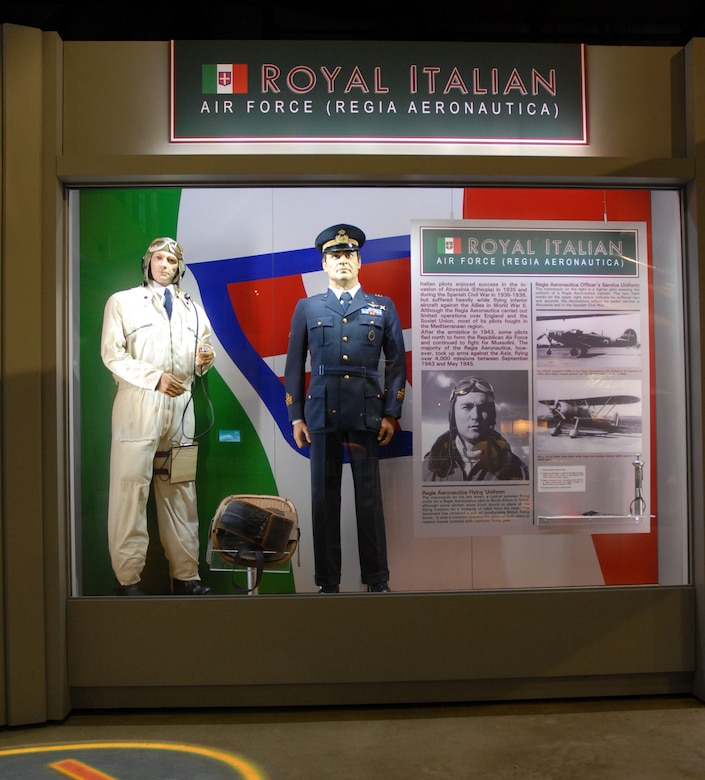 DAYTON, Ohio - The Royal Italian Air Force portion of the WWII: Airmen in a World at War exhibit in the World War II Gallery at the National Museum of the U.S. Air Force. (U.S. Air Force photo)