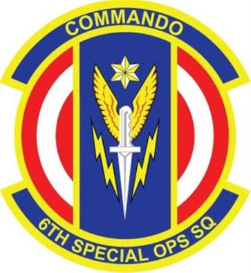 "6th SOS Emblem Significance: Blue represents the sky, the primary theater of Air Force operations. Yellow signifies the sun and the excellence required of Air Force personnel. The disc bearing an annulet alludes to a globe and reflects the unit's round-the-clock, worldwide mission capabilities. The six-pointed star denotes the squadron's numerical designation and honors the memory of all previous ""commandos."" The lightning bolts refelect WW II Campaign credits. The winged dagger symbolizes the special operation mission of the unit and the dedication and skills of unit personnel."