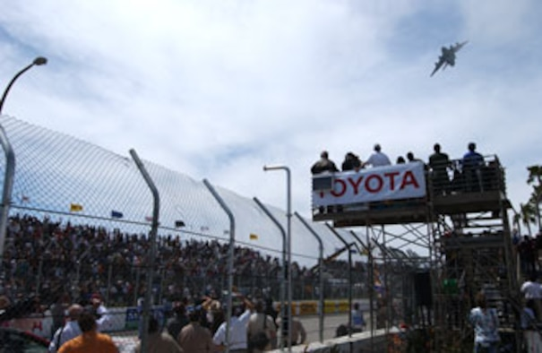 A C-17 Globemaster III from the 729th Airlift Squadron at March Air Reserve Base, California, thunders over the crowd at the 33rd Annual Toyota Grand Prix of Long Beach on 14 April, 2007. The C-17 was part of the opening ceremony.   The event ran for three days and included competitions like the 'Fast and Furious 3' Team Drift Challenge, SCCA Speed GT Challenge and the 31st Pro/Celebrity race.   (U.S. Air Force photo by SrA Daniel St. Pierre)