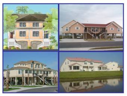 The graphic on the upper left of this photo gives an example of what the newest base housing will look like upon completion. The new housing will replace outdated housing units at MacDill. Once completed, MacDill will have more than 500 new housing units. (Graphic provided by Air Force 6th Civil Engineer Squadron)