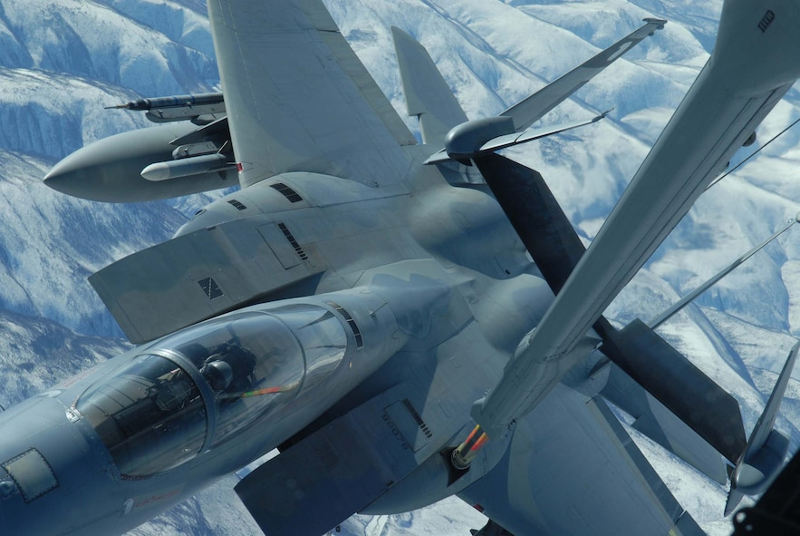 EIELSON AIR FORCE BASE, Alaska -- An F-15 Strike Eagle, 60th Fighter Squadron, Eglin AFB, Florida, receives fuel from a KC-10 extender over the Pacific Alaska Range Complex on April 18 during Red Flag-Alaska 07-1. Red Flag-Alaska is a Pacific Air Forces-directed field training exercise for U.S. forces flown under simulated air combat conditions. It is conducted on the Pacific Alaskan Range Complex with air operations flown out of Eielson and Elmendorf Air Force Bases. (U.S. Air Force Photo by Airman 1st Class Jonathan Snyder)