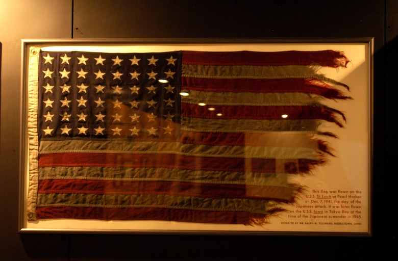 DAYTON, Ohio - This flag was flown on the U.S.S. St. Louis at Pearl Harbor on Dec. 7, 1941, the day of the Japanese attack. It was later flown on the U.S.S. Iowa in Tokyo Bay at the time of the Japanese surrender in 1945. The flag was donated by Mr. Ralph W. Youmans from Middletown, Ohio.