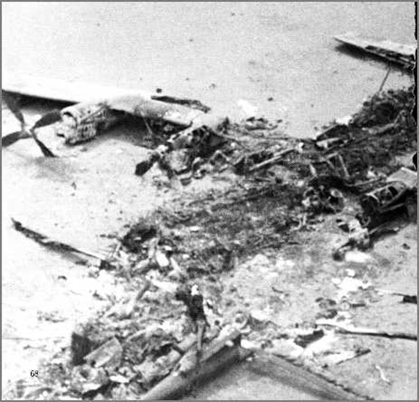 The wreckage that was left after the helicopter and C-130 collided in the desert during Operation Eagle Claw April 25, 1980. (Courtesy photo)
