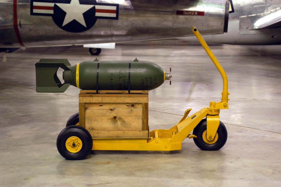 DAYTON, Ohio -- M1 Bomb Lift Truck on display in the Korean War Gallery at the National Museum of the United States Air Force. (U.S. Air Force photo)
