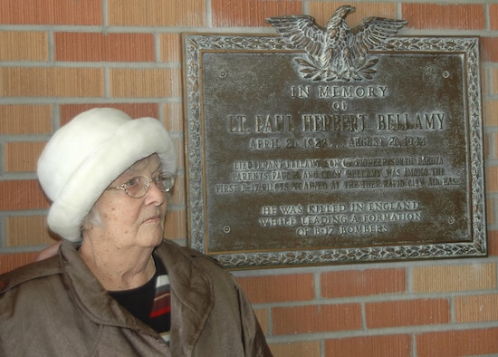 Marygertrude Bellamy recently visited the Bellamy Fitness Center here for the first time since the fitness center was named after her brother, Lt. Paul Herbert Bellamy, in 1957. Leutenant Bellamy died in England while flying a B-17 mission during World War II. Mrs. Bellamy, 91, taught in Rapid City for eight years of her 16-year career and is the only surviving member of the six-sibling family. (U.S.Air Force photo/ Airman 1st Class Kimberly Moore Limrick)