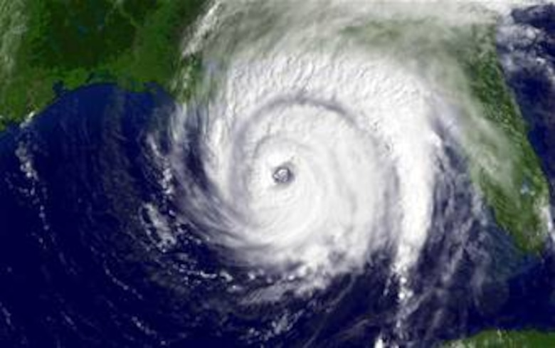Hurricane Ivan Sept. 15, 2004, at 11:15 a.m. EDT before slamming into the USA Gulf Coast. Ivan was one of four hurricanes to strike the state of Florida in 2004.