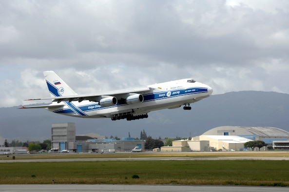 A Russian Volga-Dnepr AN-124 long-range heavy transport aircraft takes off from Moffett Federal Airfield, Calif., April 22. The contracted AN-124 transported 129th Rescue Wing deployment cargo to Afghanistan because the high operations tempos of Operations Iraqi Freedom and Enduring Freedom have kept C-17 Globemaster III and C-5 Galaxy aircraft fully engaged. (U.S. Air Force photo/Master Sgt. Daniel Kacir)