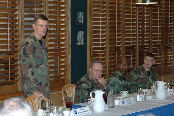 Lt. Gen. Donald Wetekam (left), Deputy Chief of Staff for Installations and Logistics, Headquarters U.S. Air Force, Washington, D.C., answers a question posed to him during a breakfast held at the Hillcrest Dining facility while (left to right) Maj. Gen. Kevin Sullivan, Ogden Air Logistics Center commander, Senior Airman Gevoyd Little III, 775th Civil Engineer Squadron and Staff Sgt. William White, 775 CES listen. Photo by Alex R. Lloyd