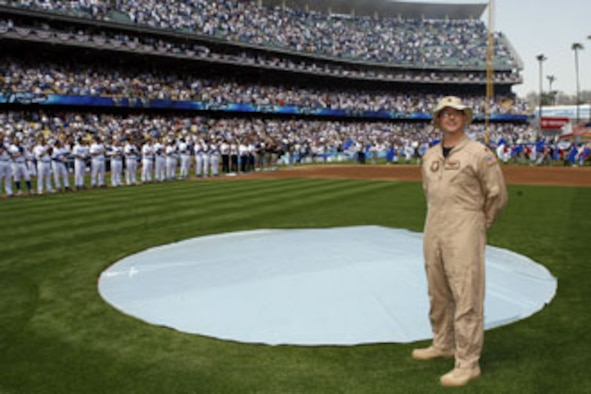 Maj. Paul Sonstein, C-17 pilot at March Air Reserve Base, Calif., at the opening Los Angeles Dodgers game (Photo courtesy of Jon Soo Hoo, Los Angeles Dodgers)