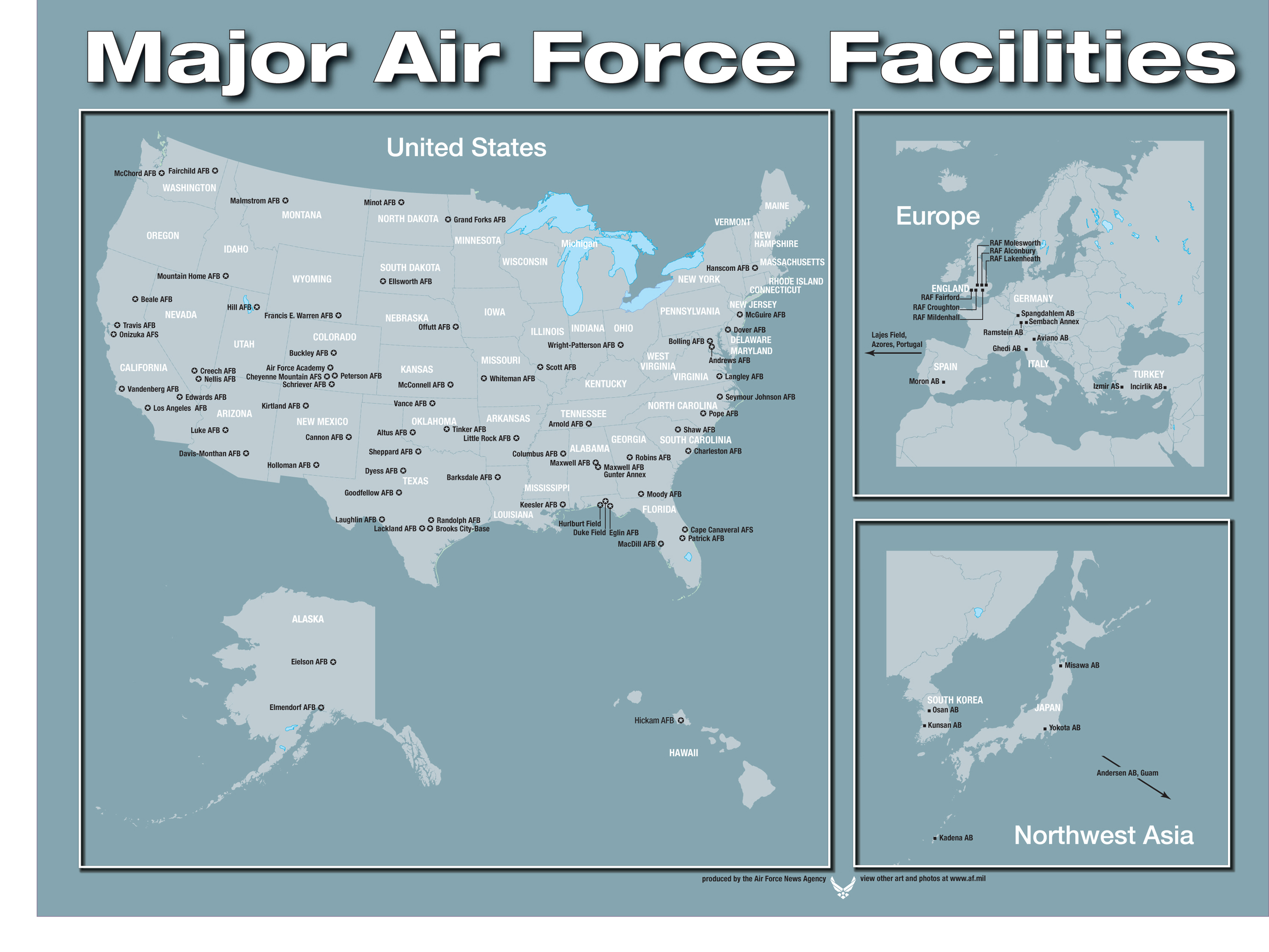 Art - Map of us air force installations