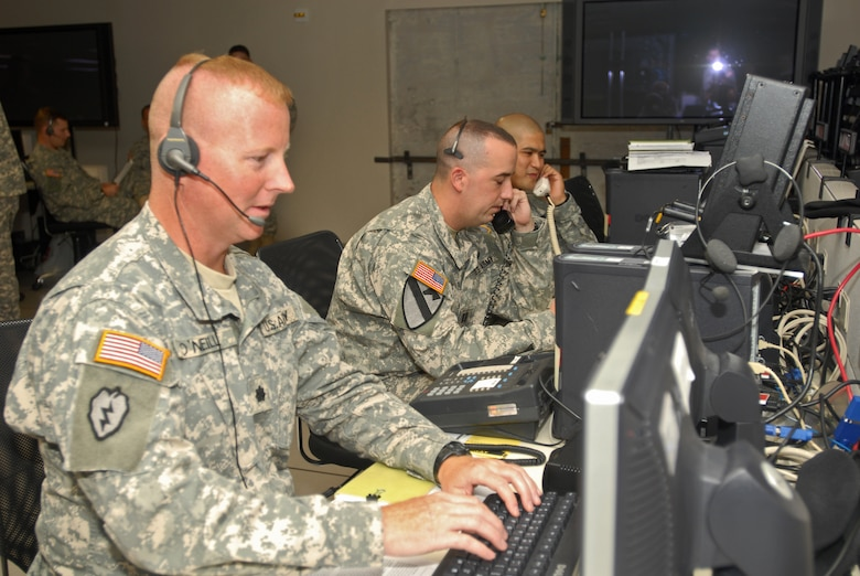 U.S. Army soldiers work in the 613th Air and Space Operations Center at Hickam during a recent joint exercise.  The AOC's Integrated Air and Missile Defense team works will all services to institutionalize IAMD processes.  U.S. Air Force photo.