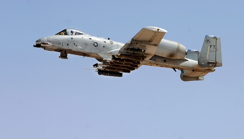 An A-10 Thunderbolt II takes off to provide close-air support to ground troops in Iraq April 25 from Al Asad Air Base, Iraq. The 438th Air Expeditionary Group A-10s perform 10 sorties daily, with 900 sorties in this last four months. (U.S. Air Force photo/Tech. Sgt. Cecilio M. Ricardo Jr.)