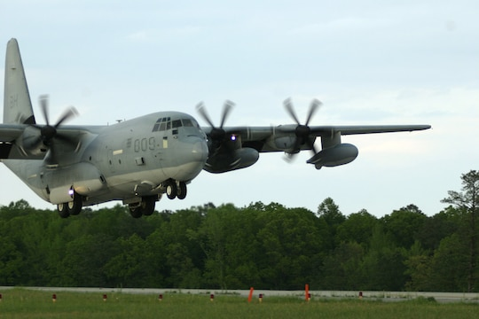 A C-130J with Marine Aerial Refueling Transport Squadron 252, comes in for a landing at Blackstone Army Air Field, near Fort Pickett, Va., April 28, 2007. The aircraft came to set up a Rapid Ground Refueling point to refuel humvees and Light Armored Vehicles from Light Armored Reconnaissance Platoon, Weapons Company, Battalion Landing Team, 3rd Battalion, 8th Marine Regiment, 22nd Marine Expeditionary Unit. The Marines and Sailors of BLT 3/8 are scheduled to deploy as the Ground Combat Element of the 22nd Marine Expeditionary Unit later this year. (Official Marine Corps photo by Sgt. Matt Epright)
