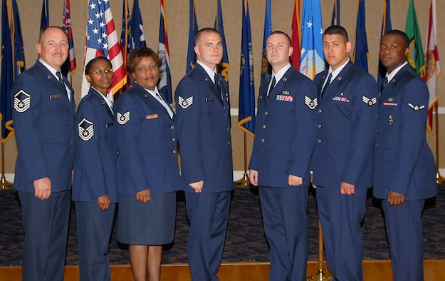 The 14th Flying Training Wing congratulates the August enlisted promotees. Pictured are: to Master Sgt.: James Cross, 14th Civil Engineer Squadron; Georgia Conner, 14th Mission Support Group; to Tech. Sgt.: Netteta Taylor, 14th Contracting Squadron; to Staff Sgt.: Larry Newell, 14th CES; Donald Lecompte, 14th Operations Support Squadron; to Senior Airman: Abel Pelayo, 14th Medical Operations Squadron; to Airman: Willie Mack Johnson, 14th Security Forces Squadron. (U.S. Air Force Photo)
