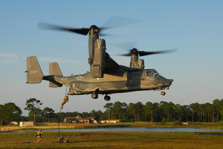 Air Force special tactics Airmen practice fast-roping from a CV-22 Osprey at Hurlburt Field, Fla., May 22, 2007.  The Osprey is flown by Air Force Special Operations Command's 8th Special Operations Squadron at Hurlburt.  (US Air Force photo by Chief Master Sgt. Gary Emery) (Released)