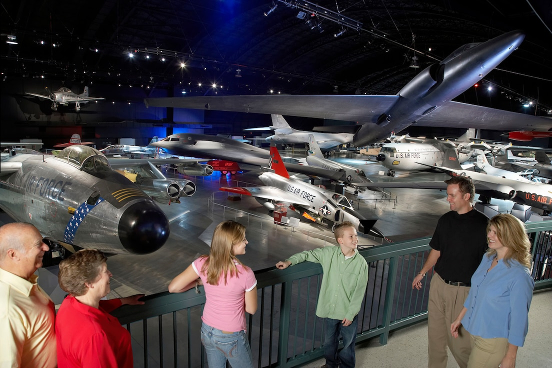 Kids, Parents and Grandparents on the balcony of the Cold War Gallery at the National Museum of the United States Air Force. (Photo courtesy of Greene County CVB)