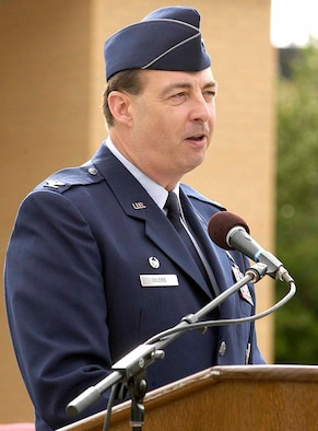Col. James Eilers addresses the Airmen and civilians of the 72nd Mission Support Group moments after assuming command of the group during a July 9 ceremony outside of the Tinker Club. (Air Force photo by Margo Wright)