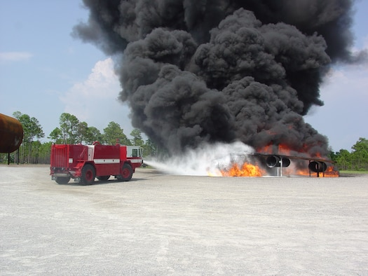 Air Force Research Laboratory has developed ultra high pressure firefighting technology that yields greater fire fighting capability from smaller, light-weight vehicles.  Here the UHP P-19 truck extinguishes a fire during testing at Tyndall Air Force Base, Fla. (U.S. Air Force photo)