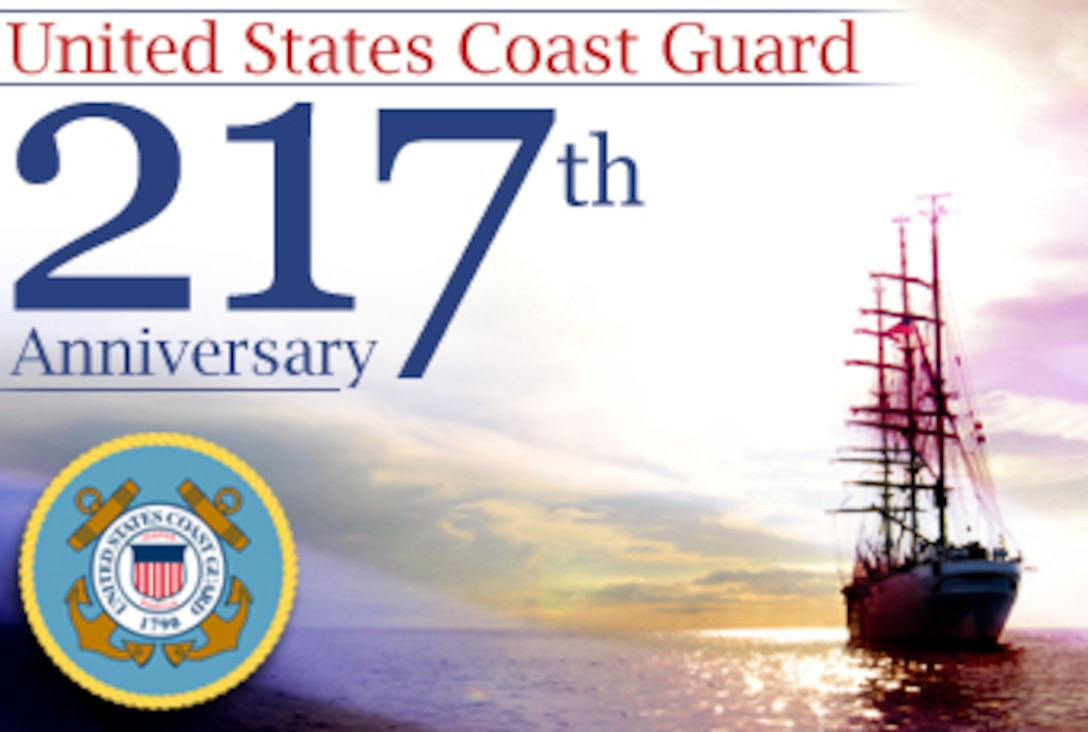 The U.S. Coast Guard celebrates 217 years of service to the nation Aug. 4. (U.S. Air Force graphic/Mike Carabajal)