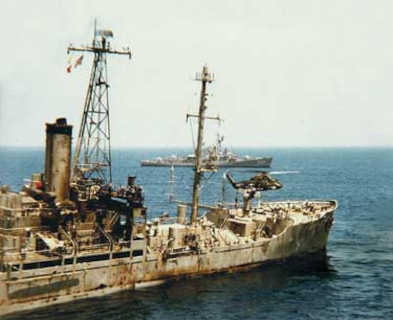The USS Liberty is left listing to starboard after a sustained air and sea attack July 8, 1967. (Courtesy photo)