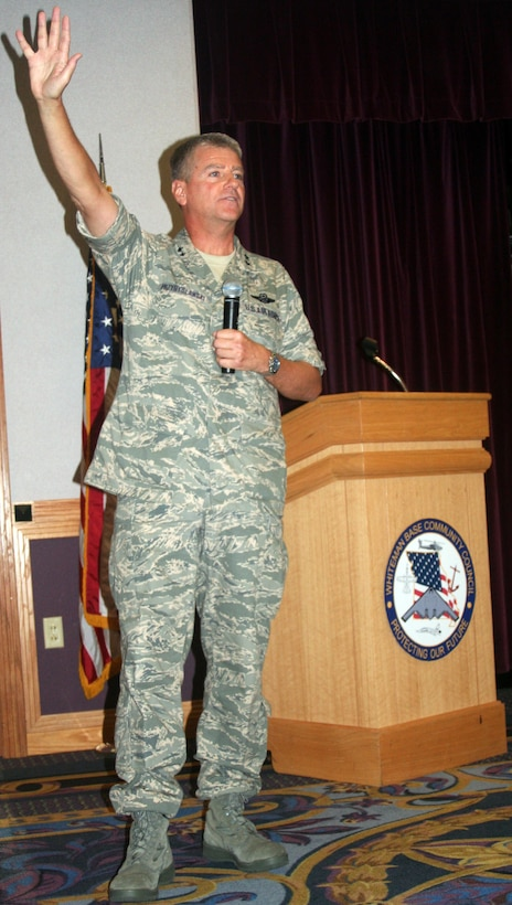 Maj. Gen. Anthony Przybyslawski, Air Force Personnel Center Commander, speaks to members of the base community council at a luncheon Aug. 2 about the future of the Air Force. (U.S. Air Force Photo/Airman 1st Class Stephen Linch)