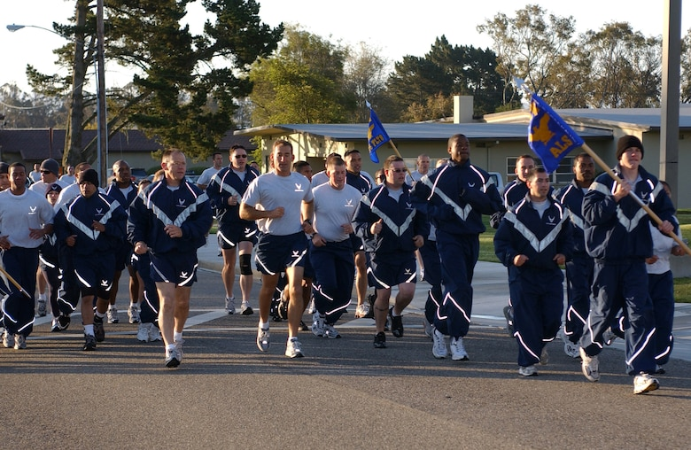 VANDENBERG AIR FORCE BASE, Calif.-- Airmen in the 30th Space Wing participate in the 5k Wing Run at Vandenberg May 3. Units can chose to use this time to run in formation as a form of group PT.(United States Air Force photo by Airman 1st Class  Adam Z Guy)