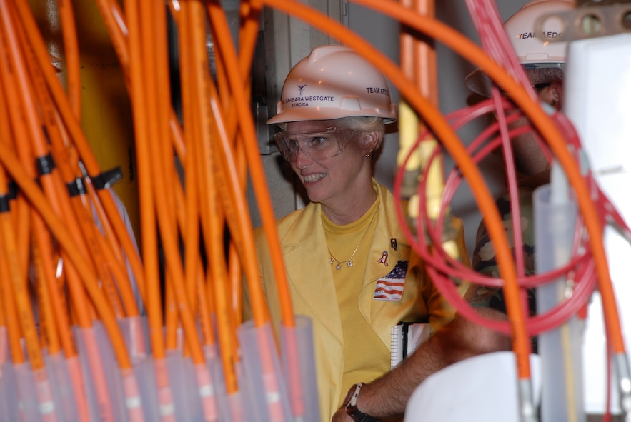 AFMC Executive Director Barbara Westgate tours an Arc Heater facility during a visit to Arnold Engineering Development Center July 30. (Photo by Rick Goodfriend)