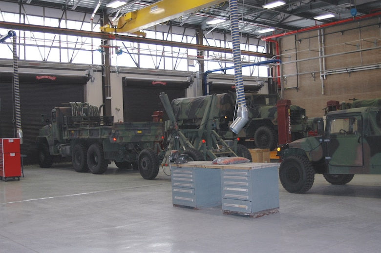 The new 729th ACS vehicle maintenance bay allows more room for vehicles and has better equipment to make it easier for the maintainers.