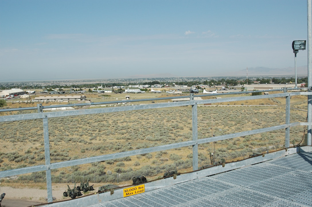 The Hill Aerospace Museum can be seen from the top of the 77-foot tower bought for the 729th Air Control Squadron.