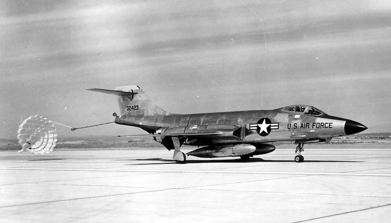 McDonnell F-101A (S/N 53-2423) after landing with drag chute. (U.S. Air Force photo)