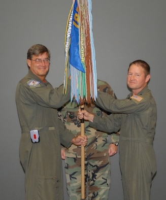 Lt. Col. Steve Eggensperger (right), new 189th Operations Group commander, poses for a photo during the ceremony with Col. Jim Crumpton, Arkansas Air National Guard headquarters. U.S. Air Force photo by Master Sgt. Dianna Seerey