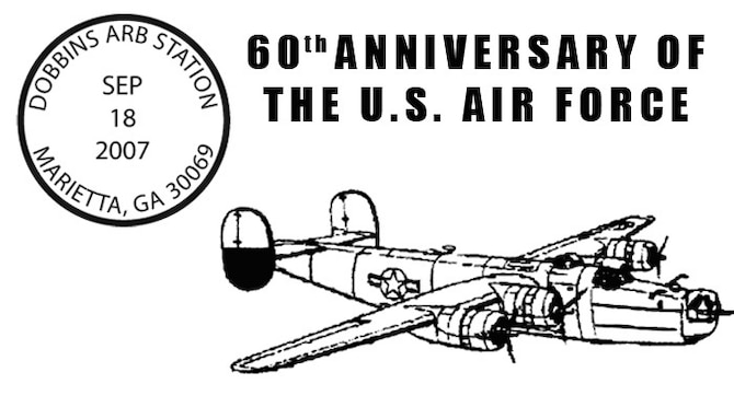 The U.S. Postal Service and the 94th Airlift Wing will honor the Air Force with a  60th Anniversary of the Air Force Postmark from Sept. 18 to Oct. 18 at Marietta, Ga. (Courtesy graphic)