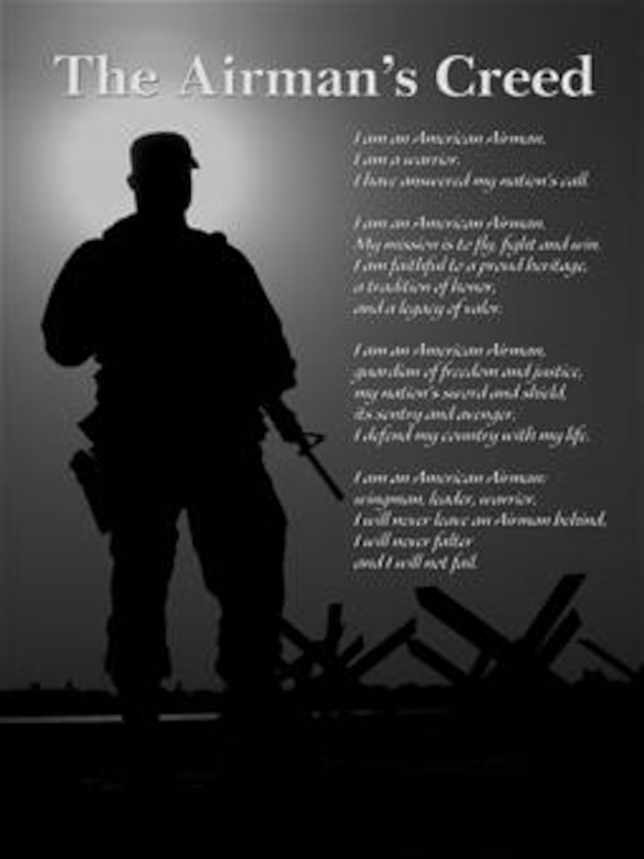 Airman's Creed Poster #2.  Version illustrated by Steve Ingram of the Air Force News Agency.  Image is 7.7x10 inches @ 300 ppi.