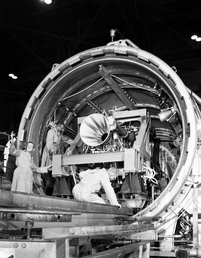The largest rocket propulsion unit tested in AEDC's Engine Test Facility up until Sept. 1959, was Reaction Motor's 50,000-pound-thrust liquid-propellant engine for the X-15 Research Aircraft.  Purpose of the test was to determine the starting and throttling capabilities of the engine under high altitude conditions.  Altitudes from 20,000 to 70,000 feet were simulated in the test cell, and a total of twenty starts were made during the first phase of the test program…five being made during one five-hour test period.