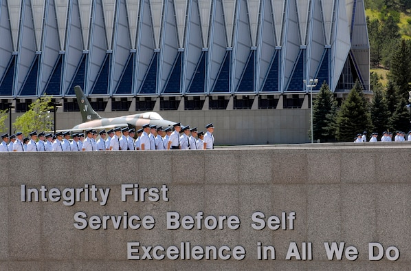 """U.S. Air Force Academy basic cadets march over the """"Core Values Ramp"""" at the Academy during orientation.  The members of the Class of 2011 recently completed field training and are preparing for the start of the academic year.  (U.S. Air Force photo/Dennis Rogers)"""