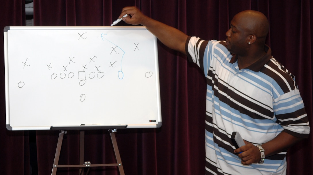 "WHITEMAN AIR FORCE BASE, Mo. - Boo Williams explains the game of football as a game of strategy and ""X""es and ""O""s at the Football Widow's Luncheon at Mission's End Aug 8. He played college football at Coffeyville Community College in Coffeyville, Kan. where he was a two-time junior college All-American, and then at the University of Arkansas. He played tight end for the New Orleans Saints from 2001-04, catching a total of 107 passes. His best season was 2003, when he caught 41 passes for 436 yards and five touchdowns. (U.S. Air Force photo/Airman 1st Class Stephen Linch)"