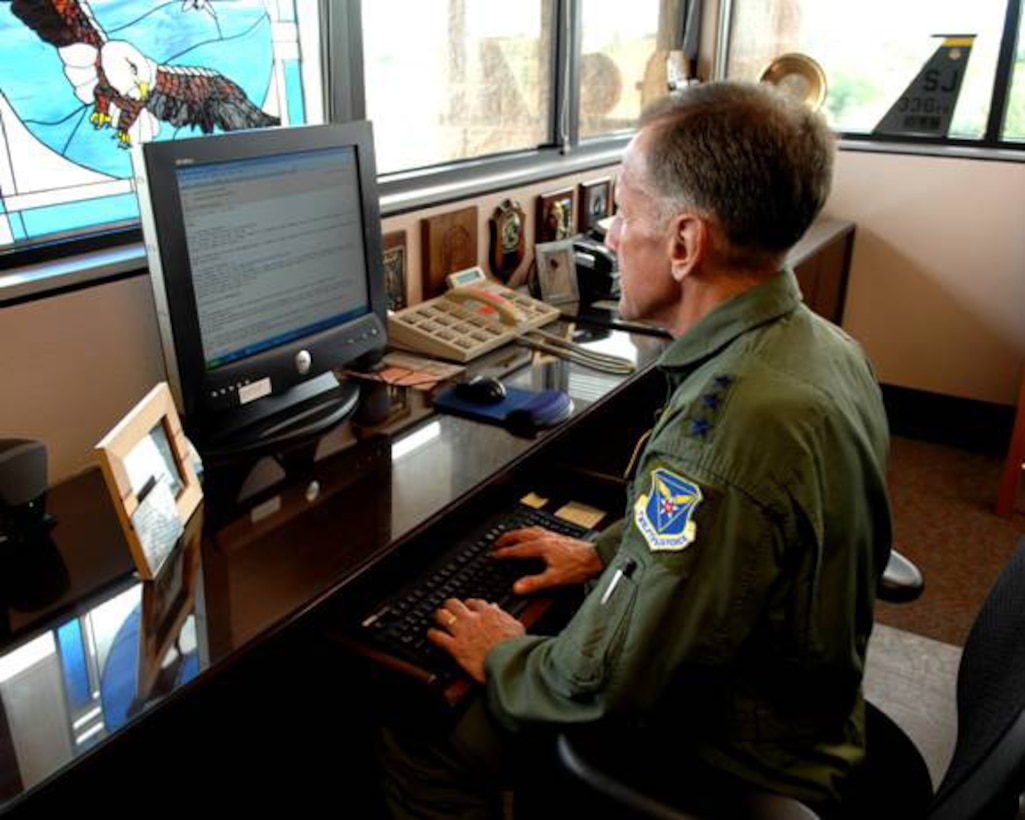 Lt. Gen. Norman Seip, the 12th Air Force and Air Forces Southern Commander, goes on-line via his new commander's web forum to interact with 12th Air Force and AFSOUTH  Airmen. The general continues to make communication with Airmen a priority, and the launching of his new forum takes it to another level.