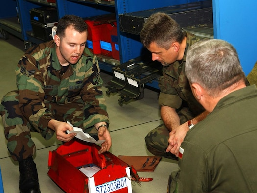 SPANGDAHLEM AIR BASE, Germany – Senior Airman Joshua Barnes, 52nd Aircraft Maintenance Squadron, explaining to Polish air force Maj. Krysztof Pusz and Col. Roscislaw Stepaniuk how tools are accounted for by verifying the Master Inventory Listing for each tool assigned to the Consolidated Tool Kit. This process ensures maintainers do not leave tools in an airplane causing unsafe conditions for the pilot and the aircraft while in flight. Members of the Polish air force spent two days visiting Spangdahlem to learn about the base operations and support activities Aug. 7. (U.S. Air Force photo/Airman 1st Class Allen Pollard)