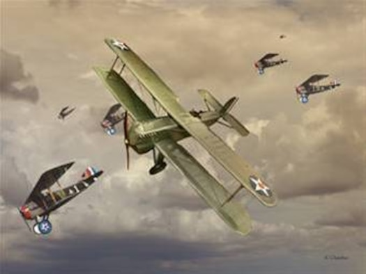 """Biplane Douglas And Spads Painting """"Biplane Douglas And Spads"""". Created by Ken Chandler. This image is 10x7.5 @ 300 ppi. Printable (PDF) files for this image, up to 18x24 inches @ 300 ppi, are available by contacting art@afnews.af.mil. This image is copyrighted and is the property of Ken Chandler and is available only to members of the armed forces and military organizations."""