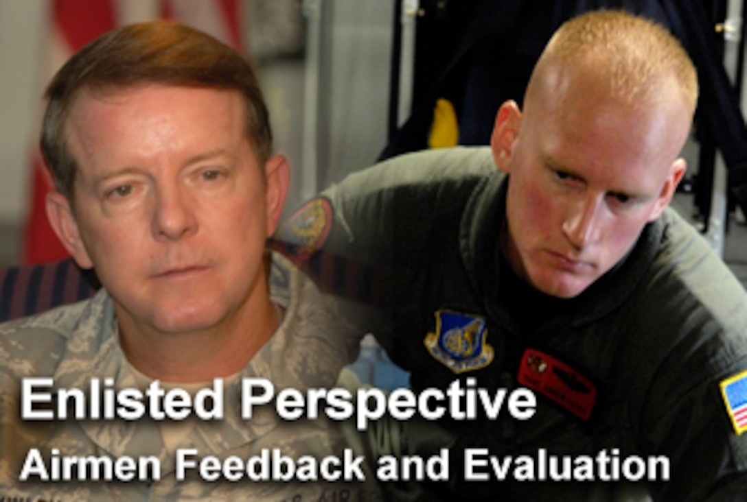 """In the newest """"Enlisted Perspective,"""" Chief Master Sgt. of the Air Force Rodney J. McKinley addresses Airmen feedback and evaluation. (U.S. Air Force photo illustration/Mike Carabajal)"""