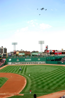 HANSCOM AFB, Mass. -- KC-135, A-10, F-15 and F-16 aircraft from Pease Air National Guard Base, N.H., Barnes ANGB, Mass., Otis ANGB, Mass., and the Vermont Air National Guard, respectively, fly over Fenway Park Wednesday. The flyover was conducted in honor of Air Force Week New England, which officially begins Saturday and will run through Aug. 26. (Photo by Walter Santos)