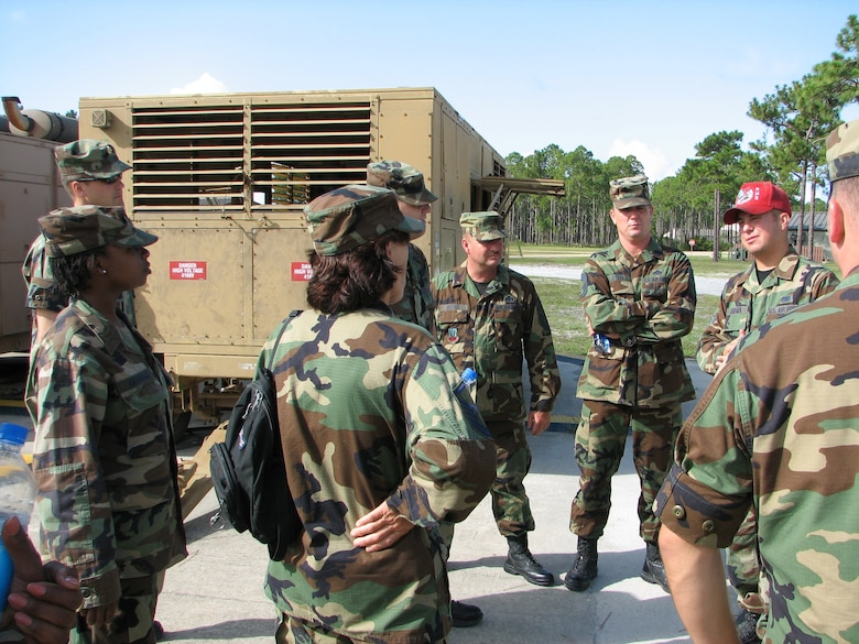 A Red Horse Squadron instructor teaches 163 RW Civil Engineers prior to a scenario start. Facing front, left to right, Chief Master Sgt. Donald Ulstad and Chief Master Sgt. Jeffrey Myers. The team participated in Silver Flag, held at Tyndall Air Force Base, Fla. About 40 members from the Civil Engineering Squadron deployed July 14-20 working alongside Air Force active-duty and Reserve.  (U.S. Air Force photo)