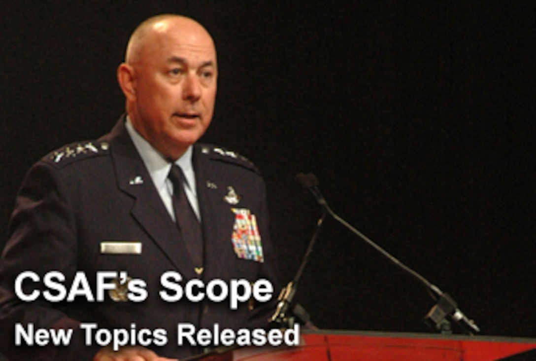 """The CSAF's Scope focuses on current topics the Air Force chief of staff feels are of special importance to today's Airmen, and among Gen. T. Michael Moseley's top issues in August is the Air Force's force structure changes and """"The High Ground."""" (U.S. Air Force graphic/Mike Carabajal)"""