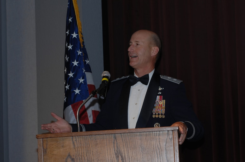 WHITEMAN AIR FORCE BASE, Mo. – Maj. Gen. Douglas Raaberg, Air Combat Command air and space operations director, speaks at the Air Force Ball Aug. 18. General Raaberg, who was this year's guest speaker, was also the 509th Bomb Wing commander from 2002-04. This year's ball commemorated the Air Force's 60th Anniversary, and was held at Elliott Union on the University of Central Missouri campus. (U.S. Air Force photo/Tech. Sgt. Samuel Park)