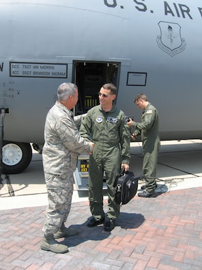 Brig. Gen. Paul Capasso, 81st Training Wing commander, welcomes Col. Ward Juedeman, Air Education and Training Command Inspector General chief inspector, to Keesler Sunday.  More than 100 inspectors will inspect the base during the coming week. (U.S. Air Force photo by 1st Lt. Lisa L. Kostellic)