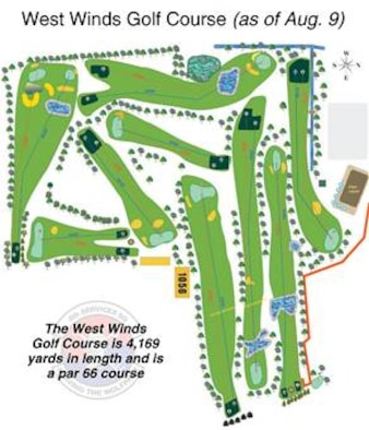The West Winds Golf Course at Kunsan Air Base, South Korea as of Aug. 9.  (U.S Air Force graphic/8th Services Squadron)