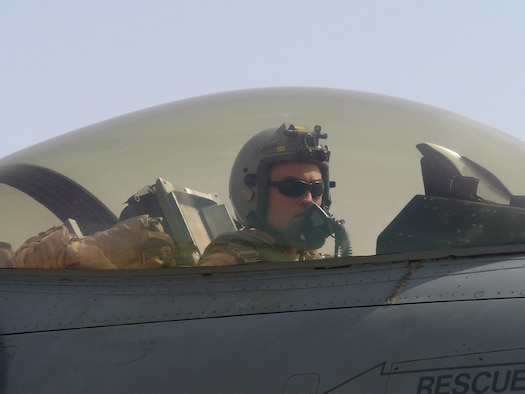 BALAD AIR BASE, Iraq -- Capt. Larry Sullivan, 13th Expeditionary Fighter Squadron pilot, preparing for take off before a combat sortie over Iraq in support of Operation Iraqi Freedom. Captain Sullivan is deployed from Misawa Air Base, Japan. (U.S. Air Force photo)
