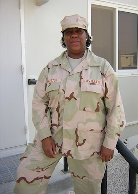 Ms. Shirley Bratton, a civilian from Airman and Family Readiness Center at Holloman, is one of the first to deploy in support of a deployed Airman Readiness Center. (U.S. Air Force photo courtesy of Ms. Shirley Bratton)